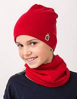 Зимняя шапка и хомут однотонная на девочку, фото 1