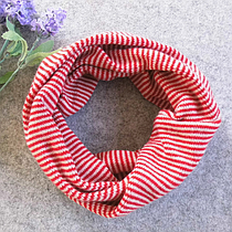 Детский вязаный шарф - хомут Красный с розовым