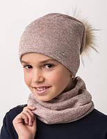 Стильная  шапка с помпоном и хомут.