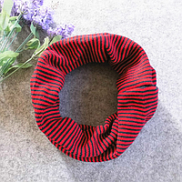 Детский вязаный шарф - хомут Красный с темно синим