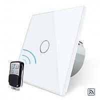 Сенсорный выключатель Livolo белый + пульт дистанционного управления (VL-C701R-11/VL-RMT-02)