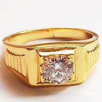 Мужское кольцо с фианитом. Размеры 18, 19. Позолота 24К  Xuping Jewelry.