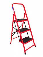 Стремянка металлическая FORTE LFD106TB - 3 ступ., высота 109 см, высота до верх. ступ. 70 см, вес 5,6 кг BPS