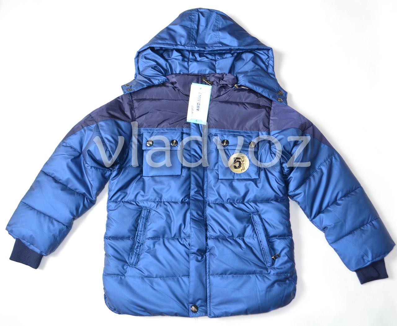 Детская зимняя куртка утепленная на зиму куртка для мальчика синяя 11-12 лет