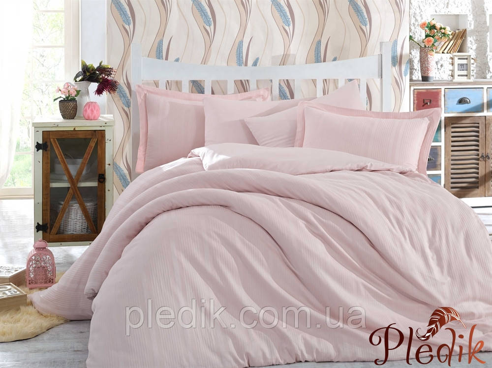 Комплект постельного белья 200х220 HOBBY Exclusive Sateen Diamond Stripe пудра