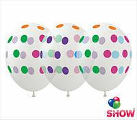 """Воздушные шары """"Горох цветной на прозрачном"""" 12""""(30 см) пастель ассорти В упак: 100шт ТМ Арт «SHOW» GR-5"""