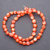 """Бусины натуральный камень Коралл  оранж """"бубочка"""" на нитке, леске для рукоделия L- 40см d-7мм"""