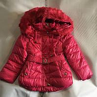 Куртка зимняядетскаяс мехом для девочки 1-5 лет,малиновый цвет