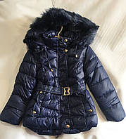 Куртка зимняядетскаяс мехом для девочки 1-5 лет,темно синий цвет