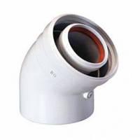 Уголок коаксиальный 45° 60/100 для газового котла