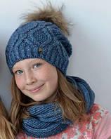 Зимняя женская шапка Милана на флисе, нат. енот, размер 55-58 см