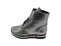 Женские кожаный демисезонные ботинки Polin Stael 19 Silver