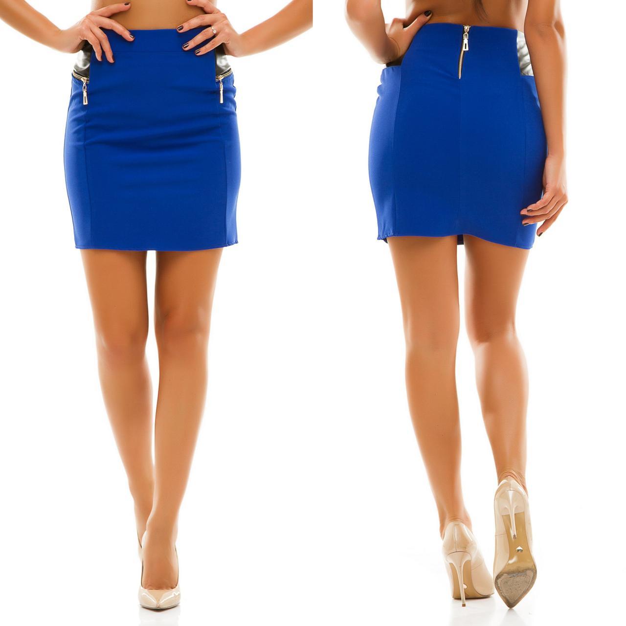 Женская юбка-мини с молниями и кожаными вставками