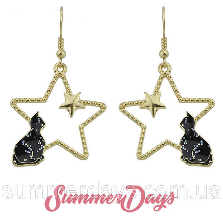 Серьги звезды с черным котом