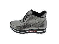 Женские кожаный зимние ботинки Polin Milano Stael 23 Silver