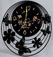 """Часы настенные """"Цветы и бабочки"""" (51*2 см) металл."""