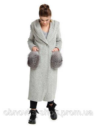Длинное зимнее пальто с меховыми карманами, фото 2