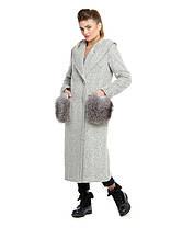 Длинное зимнее пальто с меховыми карманами, фото 3