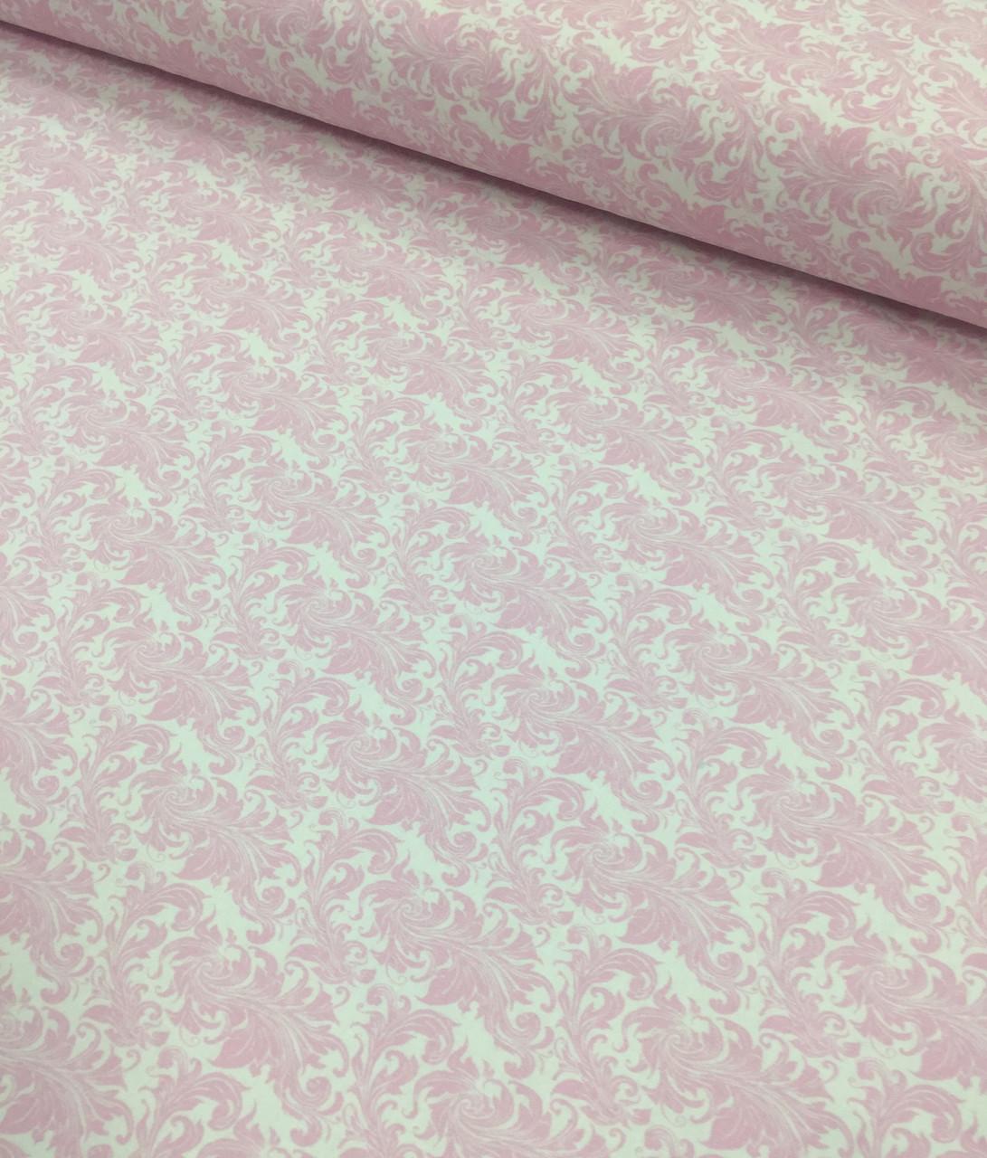 Хлопковая ткань Дамаск ветер розовый на белом