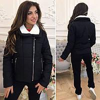 """Женская стильная куртка на синтепоне демисезон 2144 """"Аляска Воротник Овчина"""""""