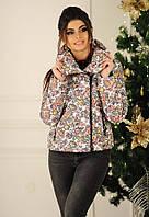 """Женская стильная куртка на синтепоне демисезон 2139 """"Косуха Принт Розочки"""""""
