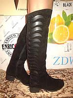 Замшевые высокие женские зимние сапоги на низком каблуке.р.36,37,40,41.