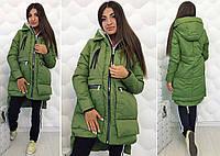"""Тёплая женская куртка на синтепоне 2129 """"Трансформер Змейки Капюшон"""" в расцветках"""