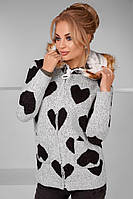 """Женская стильная кофта с капюшоном вязка + овчина 3002 """"Сердца"""""""