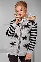 """Женская стильная кофта с капюшоном вязка + овчина 3002 """"Звёзды"""""""