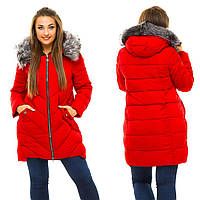 Женская зимняя тёплая куртка холлофайбер в больших размерах W35 в расцветках