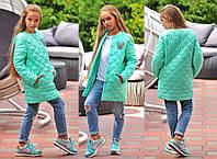 """Детская стильная куртка-пальто на синтепоне 300 """"Стёганка Нашивка"""" в расцветках"""