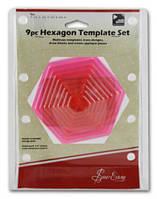ERGG07.PNK Лекало-вертушка Шестиугольник для пэчворка, 9 разных размеров, 1,1.5,2,2.5,3,3.5,4,4.5,5