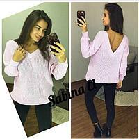 Женский вязаный свитер с V-вырезом и спадающим плечом 7KF110