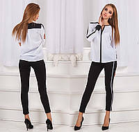 Стильные женские джинсы стрейч с лампасами до больших размеров 0786
