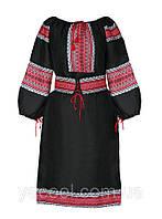 Черное платье с тканой вставкой в народном украинском стиле. Кантри вышиванка Украина