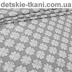 Ткань с белыми цветочками на сером фоне № 957