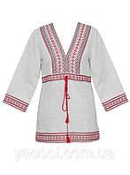 Сорочка вышиванка женская домотканные полотна и лен белый-серо-кофейный и черный