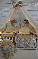 Бортики,захист в ліжечко+постільна білизна+органайзер+балдахін+корзинка для іграшок+ортопедична подушка 1412