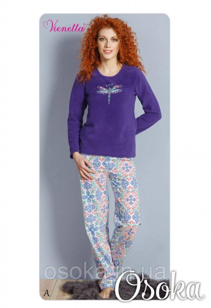 Женская пижама со стрекозой Флисовая Vienetta (Винетта) 2938