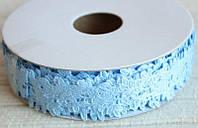 Кружево лента Розы, голубой цвет, 2 см, 20 м моток