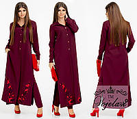 Женский костюм-двойка, кардиган+брюки, вышивка сакуры, разные расцветки, стандартные размеры