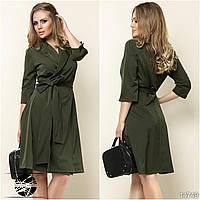 Женское платье на запах цвета хаки. Модель 14749