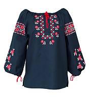 Блуза вышиванка женская. Черный Хб, черный лен