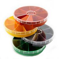 1107 Коробка для хранения фурнитуры 7 ячеек, (круглая), крышка прозрачная