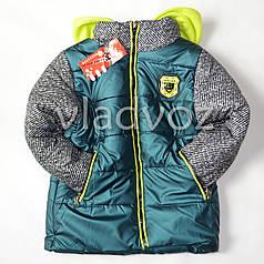 Теплая куртка для мальчика зелёный 5-6 лет