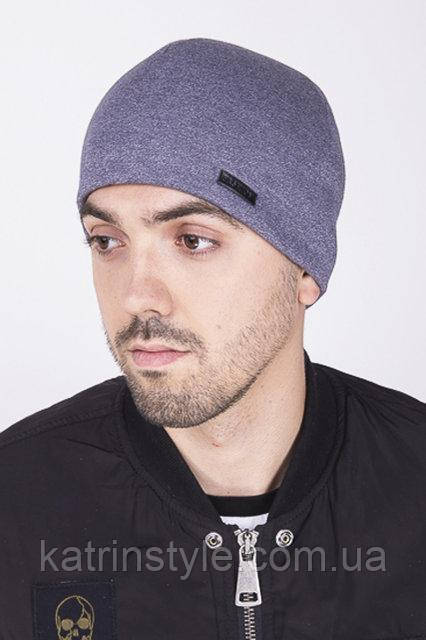 Мужская шапка тёплая светло-серая