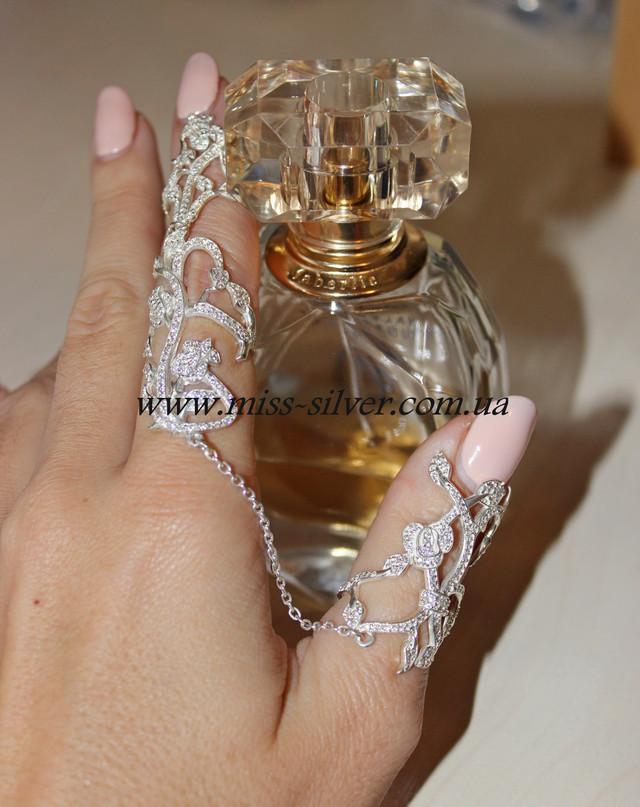 Восточное кольцо на два пальца серебро