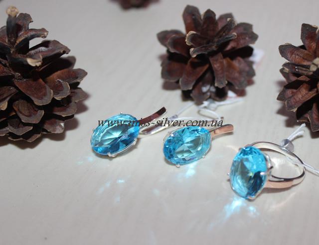 Гарнитур с голубыми камнями серебро