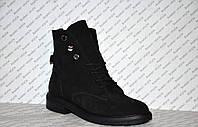 Ботинки зимние женские из натуральной замши черные на шнуровке и с заклепками