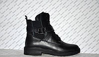 Ботинки зимние женские из натуральной кожи черные на шнуровке с застежками